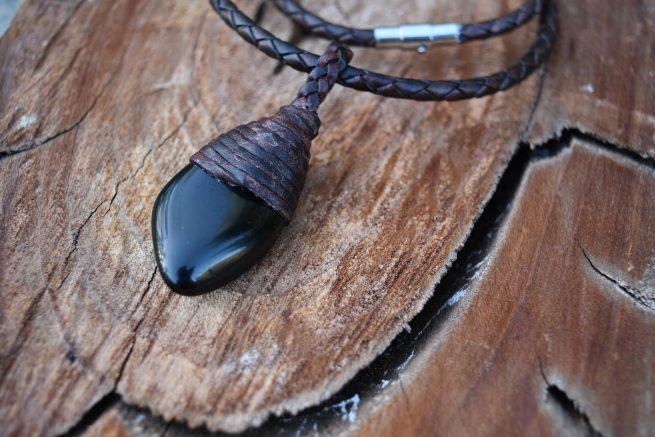 Black Obsidian Leather Necklace