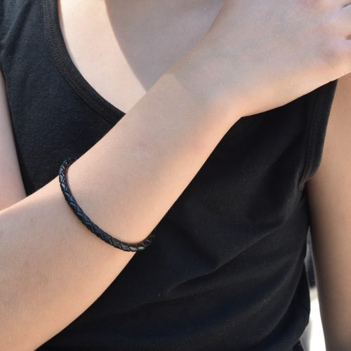 Girls Black Leather Bracelet Australia