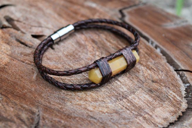yellow aventurine leather bracelet