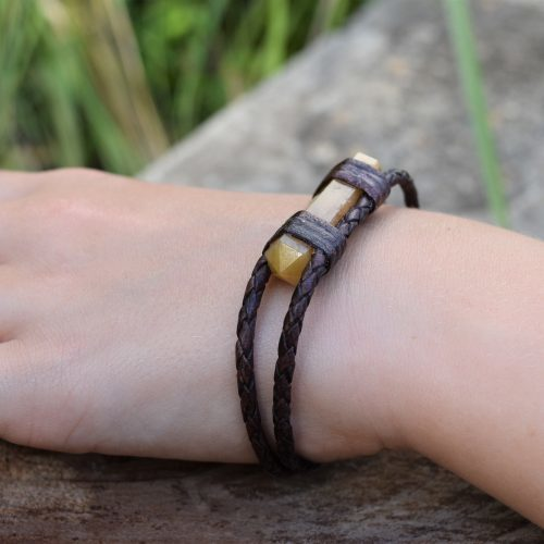 yellow aventurine leather bracelet for women