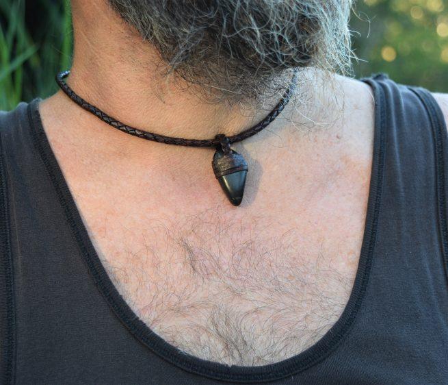 Shungite Leather Necklace for Men Australia
