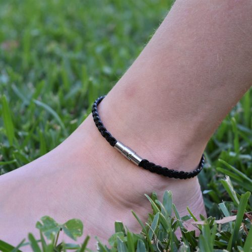 Womens black leather plaited anklets Australia