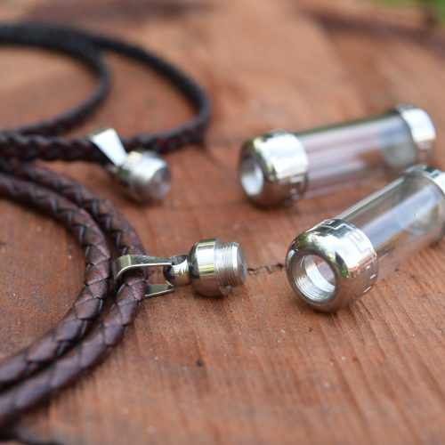 Couples Glass Vial Pendant Leather Necklaces