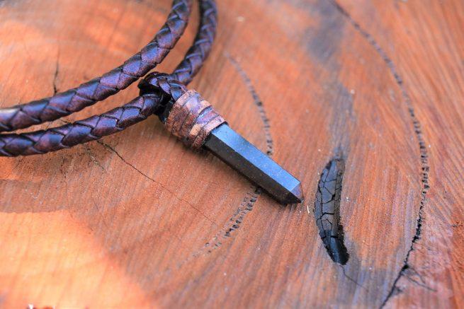 Garnet Leather Necklace for Men