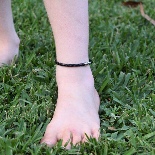 Kids Genuine Black Leather Braided Anklet Australia