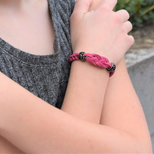 Womens Pink Leather Celtic Bracelet