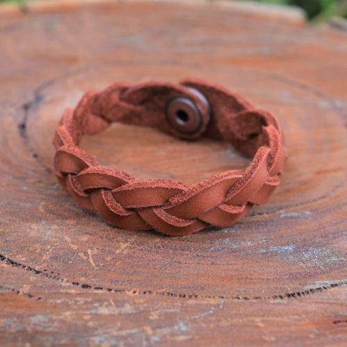 ladies braided brown leather boho bracelet