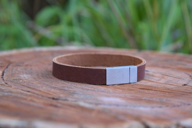 men's rustic brown leather bracelet with magnetic clasp
