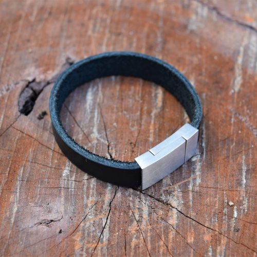 Boys black flat leather bracelets australia