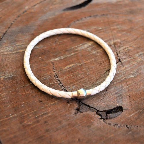 Womens white leather bracelet