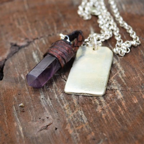 amethyst sterling silver necklace with engravable dog tag australia