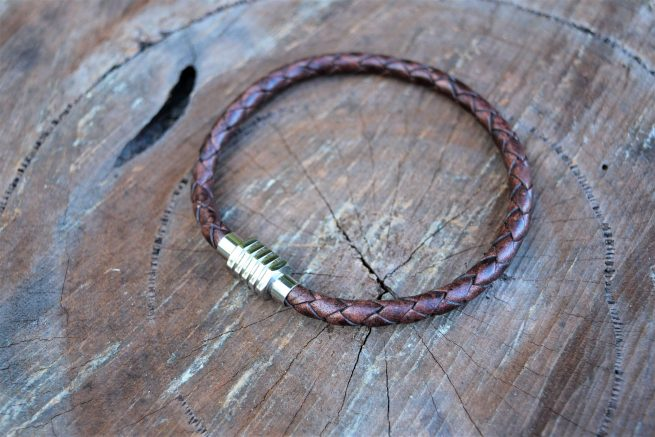 mens brown leather magnetic clasp bracelet gift Australia