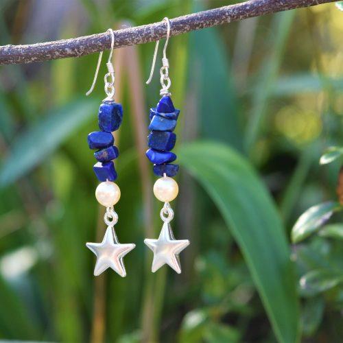shooting star lapis lazuli pearl earrings