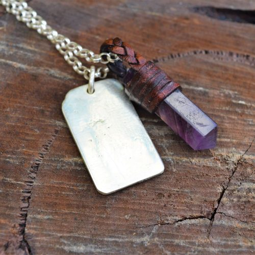 women's amethyst sterling silver necklace with engravable dog tag