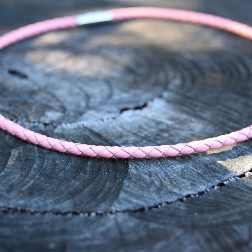 pink leather necklaces