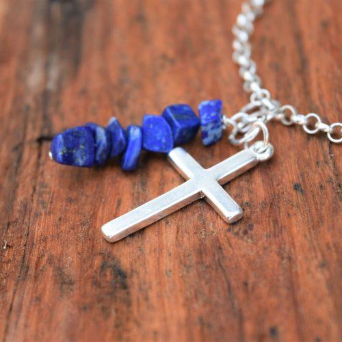 Birthstone Lapis Lazuli with Cross Sterling Silver Bracelet