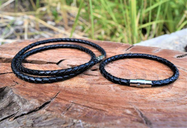 Black leather necklace and black leather bracelet