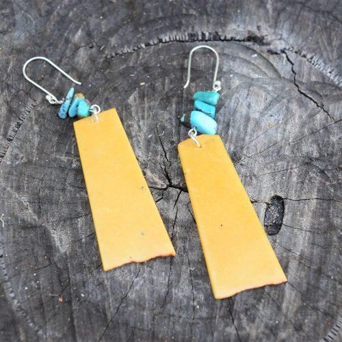 Yellow Aventurine and Turquoise Earrings